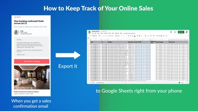 This example shows how to export your Airbnb host booking confirmations from email to Google Sheets, but this app can similarly be used for other online sales emails like confirmations from your Shopify store, Amazon store, and more.