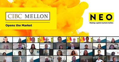 Les employés de CIBC Mellon célèbrent l'ouverture du marché avec la NEO Bourse. (Groupe CNW/CIBC Mellon)