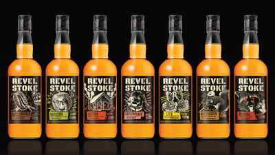 """Revel Stoke is Phillips Distilling Company's flavored whiskies line aimed at """"Zillennial"""" men ages 21-34 years old who live life on their own terms. New irreverent names and bold packaging and labels will be high-energy and personality driven and in line with today's independent whisky drinker."""