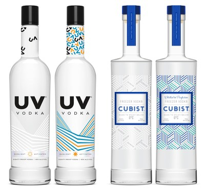 Phillips Distilling Company's new UV Vodka photochromic bottle design activates a bright spectrum of colors when exposed to sunlight. Cubist™ is the first vodka specifically designed to store in the freezer. Thermochromic technology activates the bottle to turn blue at or below zero degrees Celsius.