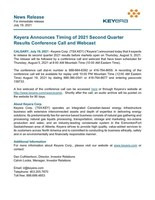 Keyera Announces Timing of 2021 Second Quarter Conference Call and Webcast (CNW Group/Keyera Corp.)