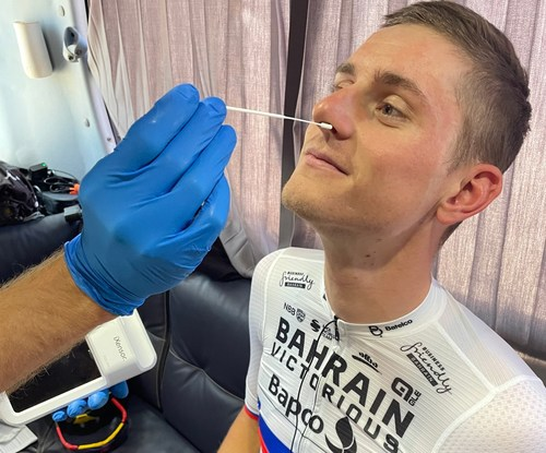 World-class cyclist, Matej Mohorič (Bahrain Victorious), demonstrated the procedure of PixoTest COVID-19 Antigen Testing as the preventative measure during international race.