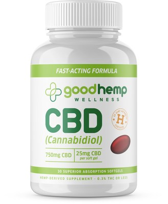Good Hemp Wellness Cannabidiol 750mg CBD Per Bottle / 30 Super Absorption 25mg Softgels