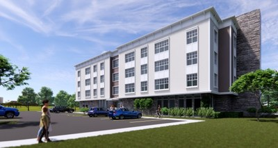 Barings Announces $8.4M Financing For Garvies Point  -  Rendering of affordable rental complex at Garvies Point / Courtesy of Georgica Green Ventures