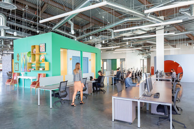 Nogin employs 230 knowledge-workers across its operations, including technologists, designers, brand strategists and AI experts at its just-redesigned Tustin, CA campus (pictured here) and offices in Los Angeles and New York.