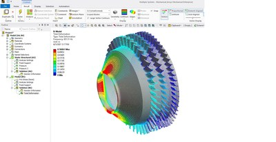 A drum compressor being analyzed with Ansys Mechanical's multistage analysis feature to reduce solving time compared against a full 360 degree solve.