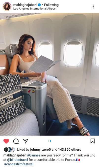 Model and influencer Mahlagha Jaberi flying with Biirdee Travel.