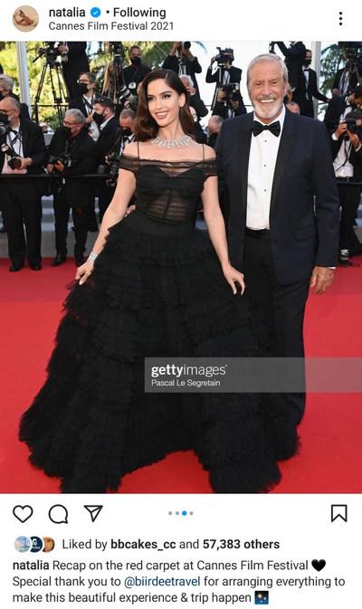 Model Natalia Barulich on the red carpet at Cannes Film Festival.