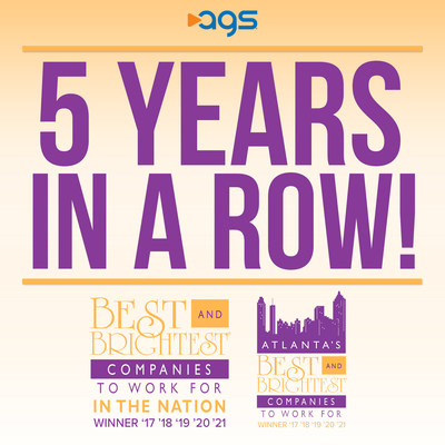 For 5th consecutive year, AGS wins both Best and Brightest Companies to Work For in the Nation and in Atlanta; recognized for outstanding employee culture.