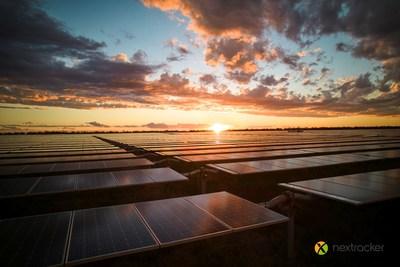 Nextracker NX Horizon smart solar tracker at sunset.