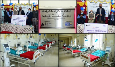 Krishnan Shrinivasan, VP and Managing Director - Lam Research India hands over the 18-bed pediatric ICU to the Deputy Commissioner R. Girish, Krishnamurthy V.R., Medical Superintendent of HIMS and Dr. Ravikumar B.C., Director at Hassan Institute of Medical Sciences