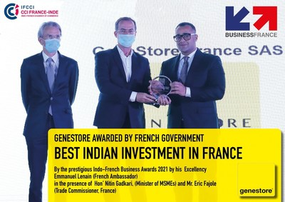 Anubhav Anusha, Founder and Global CEO, GeneStore France receiving the Best Indian Investment in France Award from his Excellency Emmanuel Lenain, French Ambassador to India, and Mr. Eric Fajole, French Trade Commissioner to India.