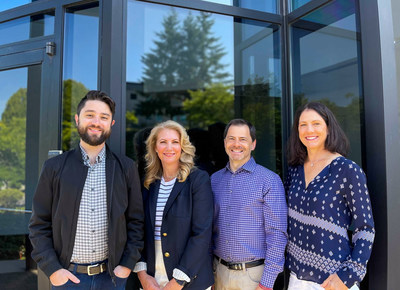 HaptX executives in front of the company's new headquarters in Redmond, WA. From left: Jake Rubin (Founder and CEO), Melanie Vargas (VP of Culture and Talent), Joe Michaels (CRO), Alicia Evans (CFO)