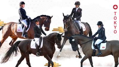 Lauren Barwick et Sandrino, Winona Hartvikson et Onyx, Roberta Sheffield et Fairuza, et Jody Schloss et Lieutenant Lobin répresenteront du Canada en para-équestre aux Jeux paralympiques de Tokyo 2020. (Groupe CNW/Canadian Paralympic Committee (Sponsorships))