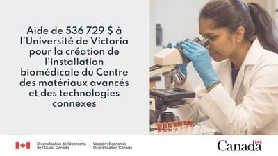 Aide de 536 729 $ à l'Université de Victoria pour la création de l'installation biomédicale du Centre des matériaux avancés et des technologies connexes. (Groupe CNW/Diversification de l'économie de l'Ouest du Canada)