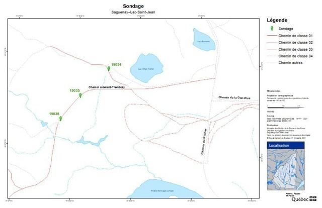 Travaux de sondage du sol - Carte 1 (Groupe CNW/Ministère des Forêts, de la Faune et des Parcs)