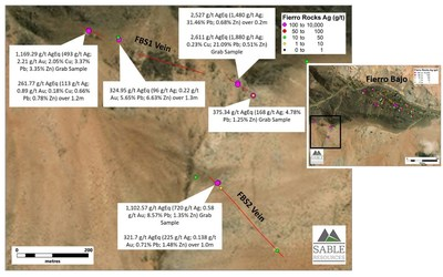 Figure 2. Location of new veins at Fierro Bajo South with highlighted results (CNW Group/Sable Resources Ltd.)