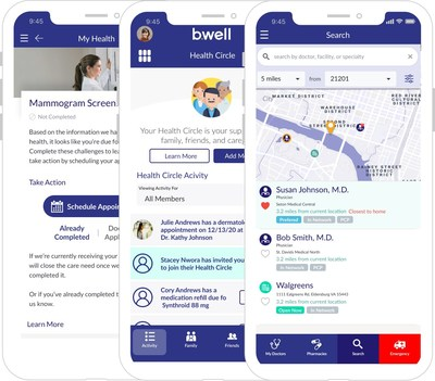 Screenshots of the three most popular features of b.well: Search, Health Circle and My Health.