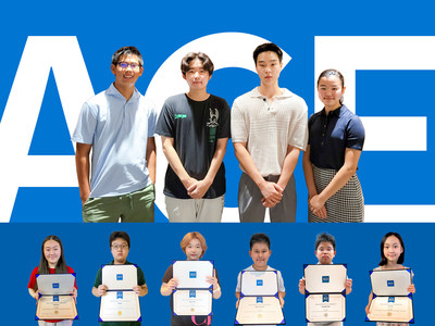 Students of various ages including Mentor Won Kim participated in ACE's 2021 Fellowship for Young Leaders Program: (clockwise from left) Eric Hyun Sim, Dawi Yoon, Won Kim, Danielle Choi, Zoe Han, Seungmin Choi, Jason Joon Sim, Damin Yoon, Doogie, and Chloe Han.