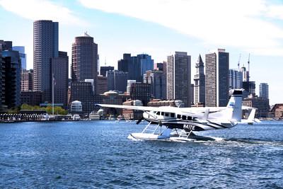 Cessna Grand Caravan EX in flight over Boston Harbor