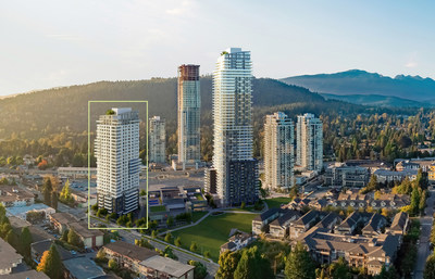 Photo de la tour d'habitation locative de Concert, située au 551, rue Emerson, à Coquitlam (Groupe CNW/Société canadienne d'hypothèques et de logement)