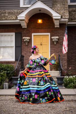 Larissa Leon of Sunnyside, Washington, takes the prize for Best Dress