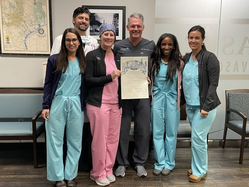 From Left to right: Paulina Astiazaran, MD, Complete Women's Care Center (CWCC), William Fox, MD, Houston Fibroids, Sara Jurney, MD, CWWC, Eric Hardee, MD, Houston Fibroids, Kandace Joye, MD, CWWC and Mariana Karram, MD, CWWC, holding the mayor's proclamation for Uterine Fibroid Awareness Month. Between 70- and 80-percent of women will develop uterine fibroids between the ages of 35 and 54, leaving roughly 321,902 women in Houston today at-risk for developing the disease