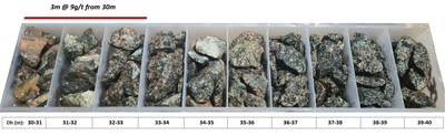 Figure 1: Reverse circulation drill chips of high-grade gold mineralization in OERC-89 (3m at 9 g/t Au from 30m downhole). (CNW Group/Awale Resources)