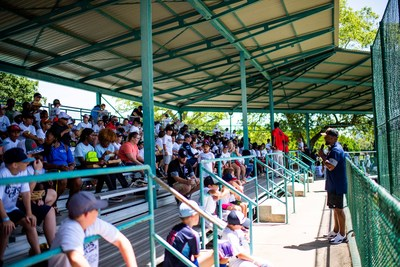 Harrison Ray, a current minor leaguer in the Toronto Blue Jays organization,  shares his passion for baseball with more than 500 boys and girls from St. Petersburg, FL during a Perfect Game Cares Foundation free youth baseball and softball youth camp.  The Foundation's free youth camps are part of the organization's commitment to remove economic barriers that stand between kids in underserved communities and their chance to play the sports.