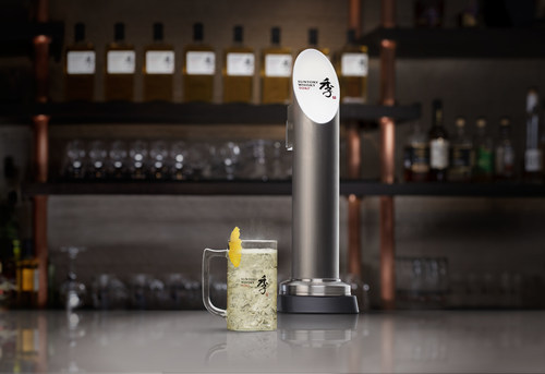 A refreshing Suntory Whisky Toki(R) Highball next to the Toki Highball Machine that dispenses super-chilled, perfectly carbonated and portioned Toki Highballs at the pull of a tap. Photo credit: House of Suntory