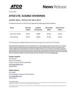 ATCO Ltd. Third Quarter 2021 Eligible Dividends (CNW Group/ATCO Ltd.)
