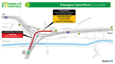 Échangeur Saint-Pierre (A-20 / R-138), fin de semaine du 23 juillet (Groupe CNW/Ministère des Transports)