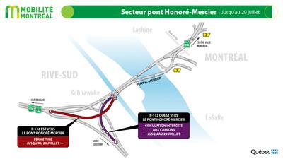 Rappel - bretelle pont Honoré-Mercier, jusqu'au 29 juillet (Groupe CNW/Ministère des Transports)