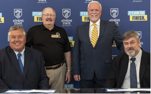 (From left to right) Dr. Phillip Way - Athens State University President; Dr. J. Wayne McCain - Athens State University Professor; Jack Blood - Vaya Space Vice President; and Rob Fabian - Vaya Space President