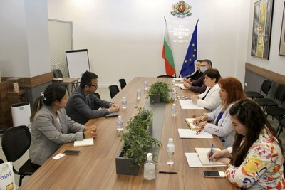 Trip.com Group chairman and co-founder James Liang meets with Bulgarian Minister of Tourism, Stela Baltova at the Ministry of Tourism in Sofia, Bulgaria.