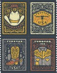 American West Motif Gives Stamps a Tooled Leather Look