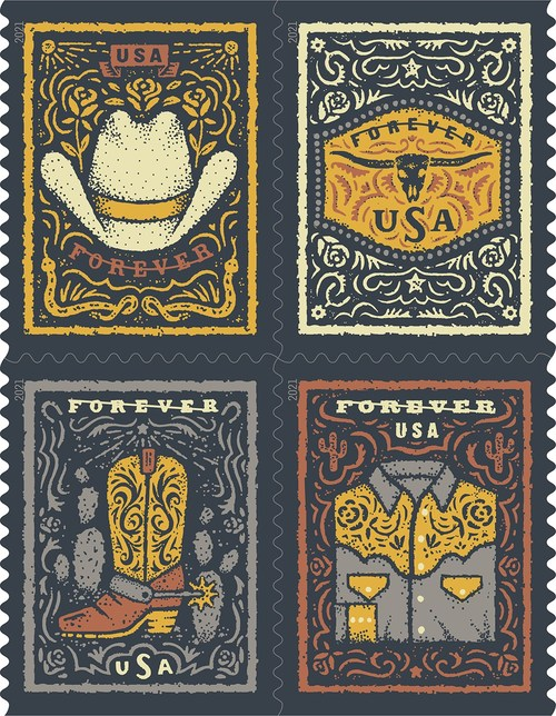 Western Wear stamp booklet features four designs illustrating iconic Western wear staples — a cowboy hat, a cowboy boot with a spur, a Western shirt and a belt buckle featuring a longhorn skull.