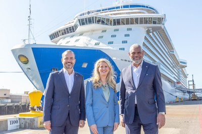 From left to right: Gus Antorcha, President of Holland America Line, Jan Swartz, Princess Cruises President and Arnold Donald, President & CEO Carnival Corporation & plc in front of Majestic Princess in the Port of Seattle