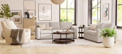 Our Murph Swivel chair is sitting along side the Bryant sofa and loveseat, and accompanied by the Prairie Group walnut finished occasional tables, as well as our Omni bar cabinet.