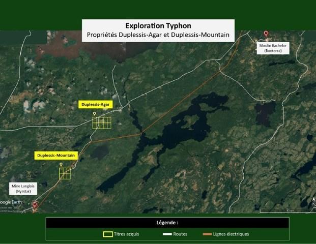 Emplacement des propriétés Agar et Mountain (Groupe CNW/Exploration Typhon inc.)