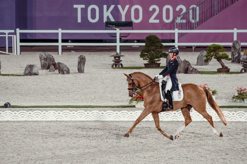 Great Britain's Charlotte Dujardin and Gio produced a fabulous test in the Grand Prix Team and Individual qualifier at the Tokyo 2020 Olympic Games in Baji Koen Equestrian Park today. Photo credit: FEI/Christophe Taniere (PRNewsfoto/FEI)