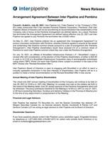 管道与彭比纳之间的安排协议终止