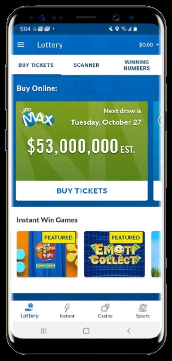 OLG Mobile App Home Page (CNW Group/Pollard Banknote Limited)