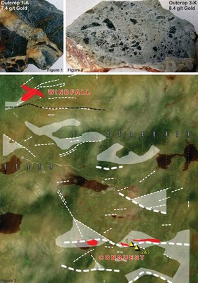 Figures 1 and 2: Examples of the gold mineralization from the newly discovered outcrops within the Conquest Zone. Figure 3: Compilation map showing the locations of the IP anomalies of interest in 1 dashed lines and white shaded polygons. (CNW Group/Northern Shield Resources Inc.)