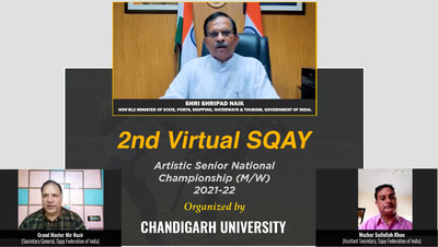 Shripad Yasoo Naik, Union Minister of State for Ports, Shipping, Waterways & Tourism, Government of India along members of Sqay Federation of India during the inauguration of 2nd Senior National Sqay Championship at Chandigarh University