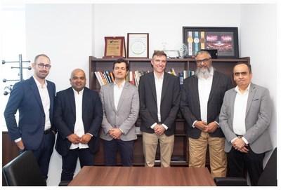 L to R: Thomas Farge (Sigfox MEA), Firoz Karumannil (iWire Co-Founder), Nicolas Andrieu (Sigfox EMEA EVP), Jeremy Prince (Sigfox Group CEO), Ahmed Fasih Akhtar (iWire Founder, CEO) and Vyomesh Thakkar (iWire Co-Founder)