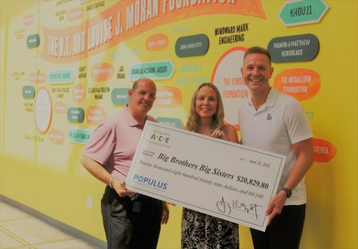 ACE Cash Express associates present a $20,829 donation to Alex Dailey, VP of Community Engagement at Big Brothers Big Sisters Greater Houston