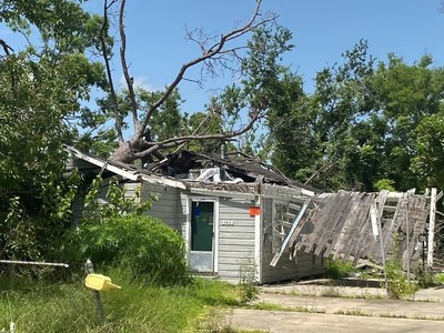 Thousands of abandoned homes like this one, damaged by Hurricane Laura nearly one year ago, can be found across Southwest Louisiana