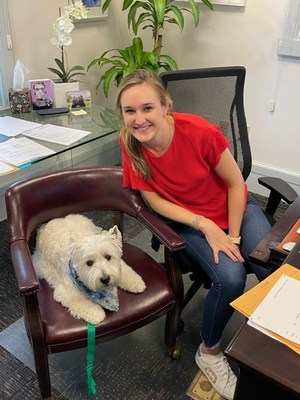Riddle & Brantley attorney Alex Riddle is joined in the office by her dog, Franklin.