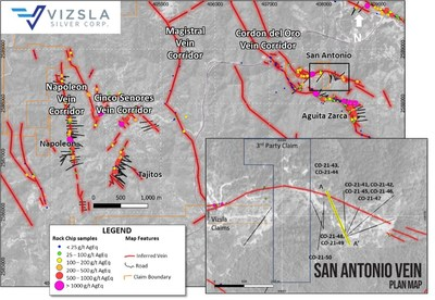 Plan map showing location of drill holes, mapped veins and surface sampling at the Cordon del Oro Vein Corridor. Inset shows detail of San Antonio Vein drill collar locations. (CNW Group/Vizsla Silver Corp.)